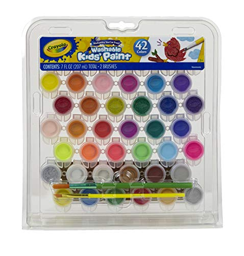 Crayola Kid's Washable Paint Set, 42 Ct., Gift for Kids, Ages 3, 4, 5, 6, 7 -