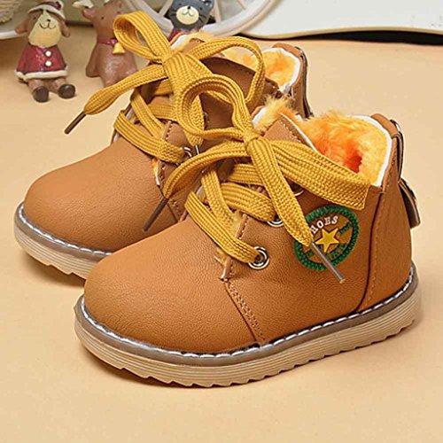 Longra Arbeiten Sie nette Winter Baby Jungen Mädchen Kind Armee Art Martin Stiefel Aufladungs warme Babyschuhe Yellow