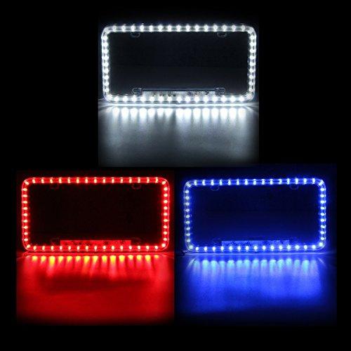 Follicomfy 12 V 54 LED Color Light License Plate Frame Acrylic Plastic License Plate ()