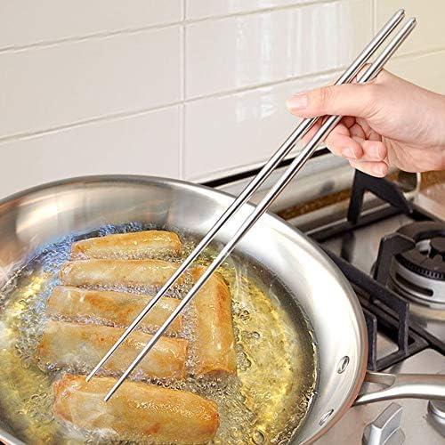 N//V Bacchette lunghe tagliatelle bacchette fritte pentola bacchette casalinghe bacchette in metallo bacchette da cucina