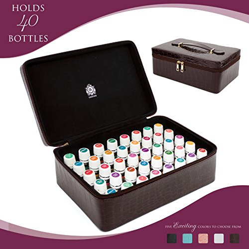 Essential Oils Carrying Case Holds 40, 15ml Bottles - Beautiful Large Custom Hard Shell Exterior with High Density Foam Interior (Wine Red)