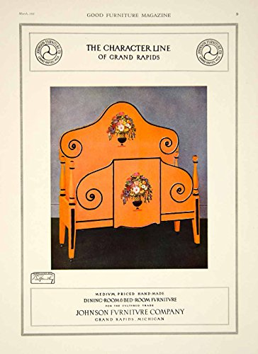 1921 Ad Vintage Johnson Furniture Bed Character Line Headboard Footboard GF5 - Original Print Ad - Poster Footboard