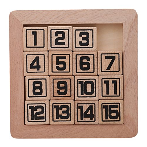 DONGMING 15 Number Puzzle Slide Game Jigsaw Classic Wood Brain Teaser IQ Game Wooden Fun Fifteen Number Puzzle Toys Kids Intelligence Game ()