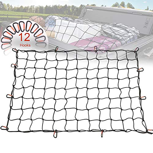 12 Nylon Hooks for Pickup Truck Bed and SUV Rooftop Travel Luggage Rack Small 4x4 Mesh Orion Motor Tech OrionMotorTech 3x4 to 6x8 Heavy Duty Latex Cargo Net with 12 Tangle-Free D Clip Carabiners 5mm Cord Small 4x4 Mesh