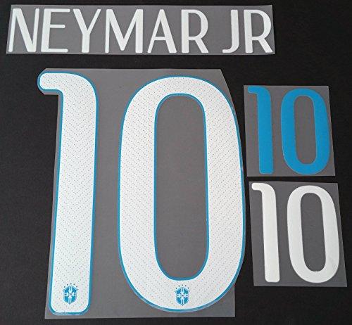 NEYMAR JR #10 Brazil Away 2014-2015 Soccer Jersey Brasil Shirt Print Transfer Name Number Set Youth Size (Kids)