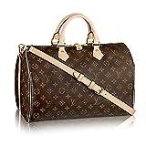 Louis Vuitton Monogram Crosss Body Leather Handles Handbag Canvas Handbag Speedy Bandouliere 35 Article: M41111