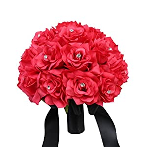 Hot Pink Rose and Black Ribbon Bridal Wedding Bouquet Keepsake artificial flowers 104