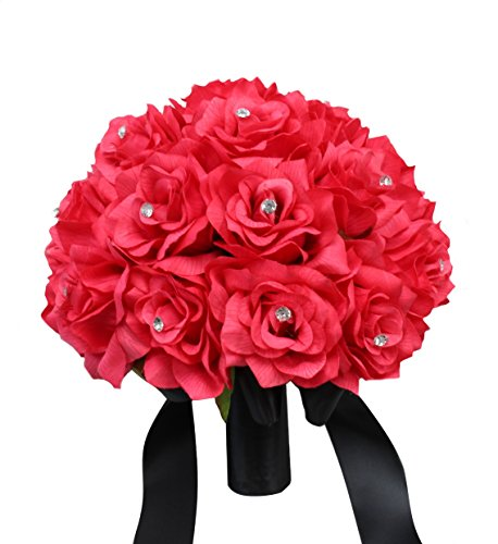 Hot Pink Rose and Black Ribbon Bridal Wedding Bouquet Keepsake artificial flowers