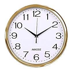 Fanyuanfds Decorative Wall Clock, 12 inches Silent Non-Ticking Quartz Wall Clock Decorative Indoor Kitchen Clock,Numbers Display,Battery Operated Wall Clock(Gold)