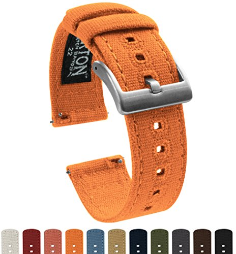 BARTON Canvas Quick Release Straps - Choose Color & Width - 18mm, 20mm, 22mm - Pumpkin 22mm
