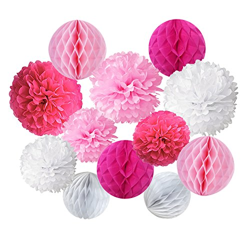 Cocodeko Paper Pompoms and Honeycomb Balls for Birthday Party Wedding Baby Shower Bridal Shower Festival Decorations - Pink -