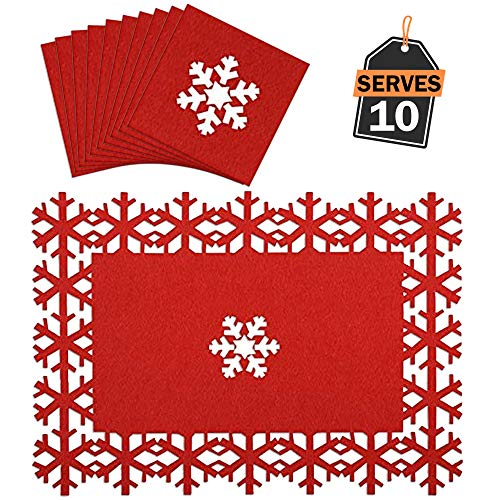 Christmas Placemats Coasters Set, Festive Table Decoration, Perfect Christmas Dinner Parties, Other Holiday Celebration