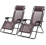 New Zero Gravity Chairs Case Of 2 Lounge Patio Chairs Outdoor Yard Beach O62/Brown