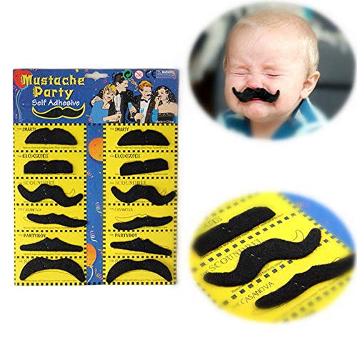 Party DIY Decorations - 12pcs/Pack Halloween Cosplay Fake Mustache Creative Funny Costume Pirate Party Moustache Funny Fake Beard Whisker For Kids Adult -