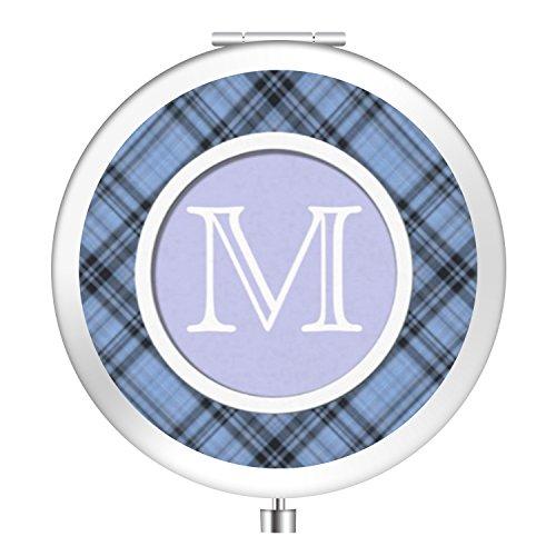 Cornflower Mirror (Folding Travel Makeup Mirror, Portable Pocket Metal Makeup Compact Mirror Woman Cosmetic Mirror Double Side - Cornflower Blue Plaid)