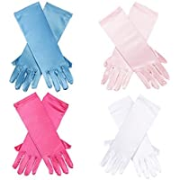 Blue Panda Princess Dress-up Gloves – 4-Pair Shiny Silky Satin Flower Girl Long Gloves for Costume Party, Wedding, Formal Pageant, 4 Assorted Colors, Ages 3 to 8 Years Old