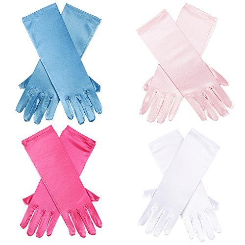Blue Panda Princess Dress-Up Gloves – 4-Pair Shiny Silky Satin Flower Girl Long Gloves for Costume Party, Wedding, Formal Pageant, 4 Assorted Colors, Ages 3 to 8 Years Old -