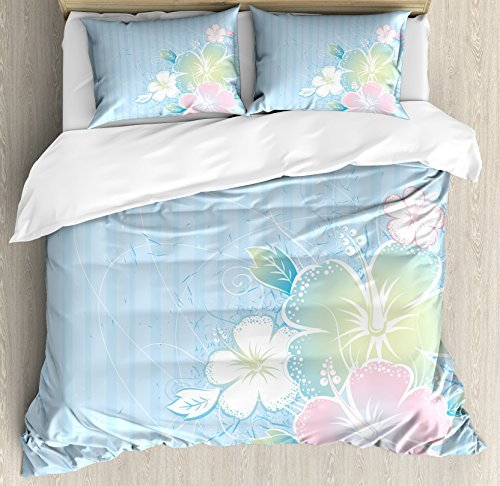King Size Flower 4 Piece Bedding Set Duvet Cover Set, Bouquet of Hibiscus Flowers on Vertical Striped Background Soft Color Print, Comforter Cover Bedspread Pillow Cases with Zipper Closure