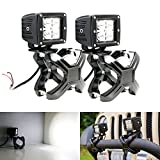 """iJDMTOY® 40W CREE High Power LED Pod Driving Lights w/ 2""""-3"""" Bull Bar X-Clamp Metal Mounting Brackets For Jeep 4x4 Off-Road Truck SUV Van, etc"""
