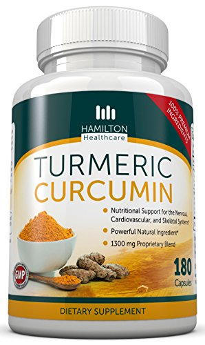 Turmeric Curcumin - Powerful Pure All Natural Supplement 180 Capsules By Hamilton Healthcare