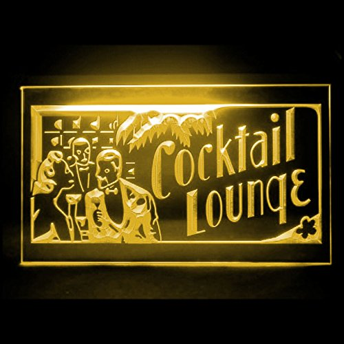 (Cocktails Lounge Open Pub Recipe Buffet Bar Catering Beer LED Light Sign 170153 Color Yellow)