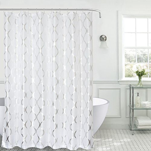 SALLY TEXTILES Regina Shower Curtain Faux Silk, White/Silver (Curtains And White Silver)