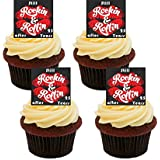 Still Rockin & Rollin After 25 Years, Silver / 25th Wedding Anniversary Edible Cupcake Toppers - Stand-up Wafer Cake Decorations by Made4You