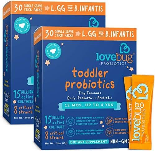 Lovebug Probiotic and Prebiotic for Kids, 15 Billion CFU, for Children 12 Months to 4 Years, Best Children's Probiotics, Contains 1 Gram Fiber, 60 Packets