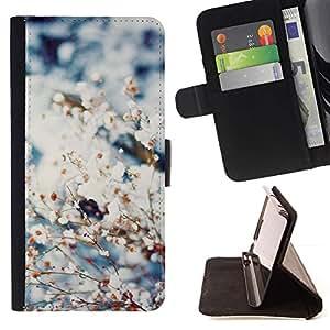 For HTC One A9 Case , Primavera de nieve Flores Blooming Naturaleza- la tarjeta de Crédito Slots PU Funda de cuero Monedero caso cubierta de piel