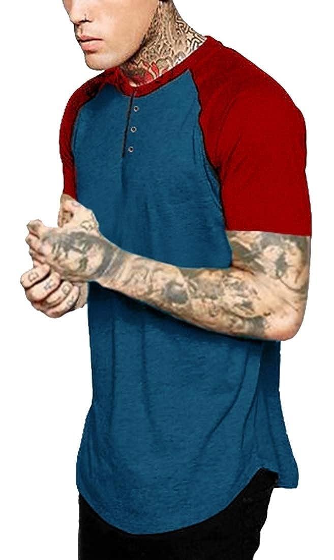 ZXFHZS Mens Slim Fit Stylish Raglan Sleeve Color Block T-Shirt Henley Shirt