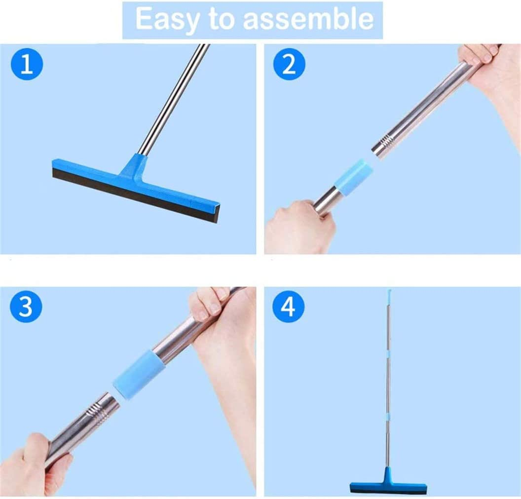 Wide Water Pusher Foam Broom Squeegy for Garage 129cm Extendable Concrete Floor Cleaner Wiper and Outside Windows Deck Thstheaven Floor Squeegee with Long Handle Shower