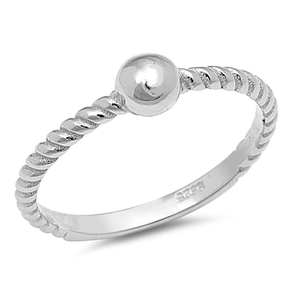 Rope Bead Ball Fashion Ring New .925 Sterling Silver Thin Toe Band Size 8