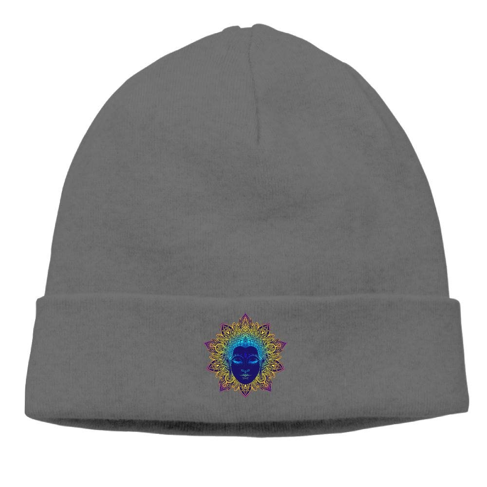 nordic runes Holy Statue of The Buddha Beanie Hat Winter Warm Knit Skull Cap for Mens//Womens