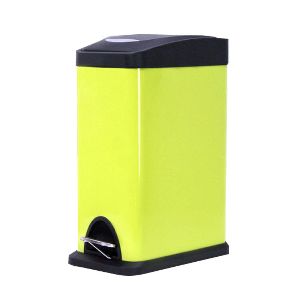 Foot Stainless Steel Trash Cans Household Stainless Steel Storage Bucket Square 15L (Color : Green, Size : L)