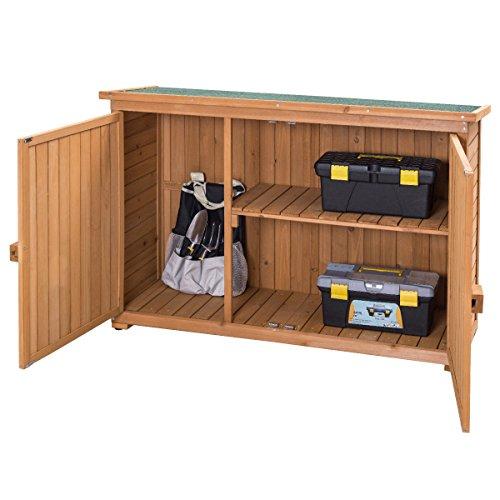 goplus wooden garden shed fir wood outdoor storage cabinet double door yard locker office. Black Bedroom Furniture Sets. Home Design Ideas