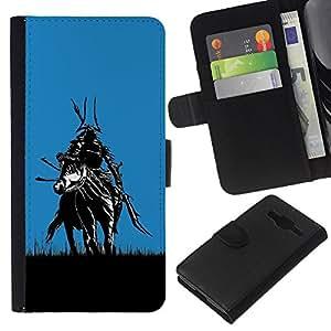 KLONGSHOP // Tirón de la caja Cartera de cuero con ranuras para tarjetas - Samurai en Campos - Samsung Galaxy Core Prime //