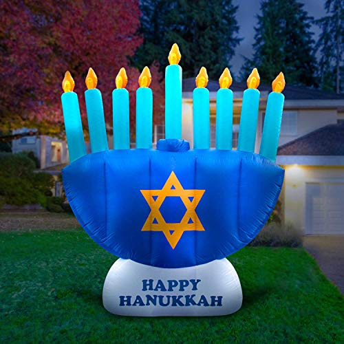Holidayana 8ft Giant Inflatable Menorah Hanukkah Decoration | with Built-in Bulbs, Tie-Down Points, and Powerful Built in Fan -