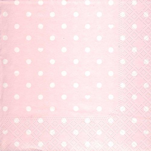 20 Servietten Hearts and Dots pink - Herzen & Punkte pink / Muster 33x33cm