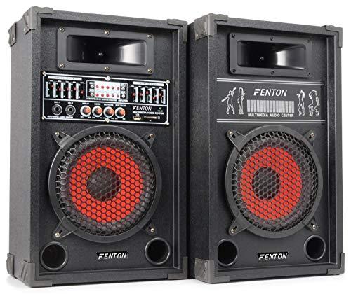 Fenton SPB-10 Actieve Speakerset 10 Inch 600 Watt 2 stuks met Bluetooth voor Muziek, Zang en Karaoke