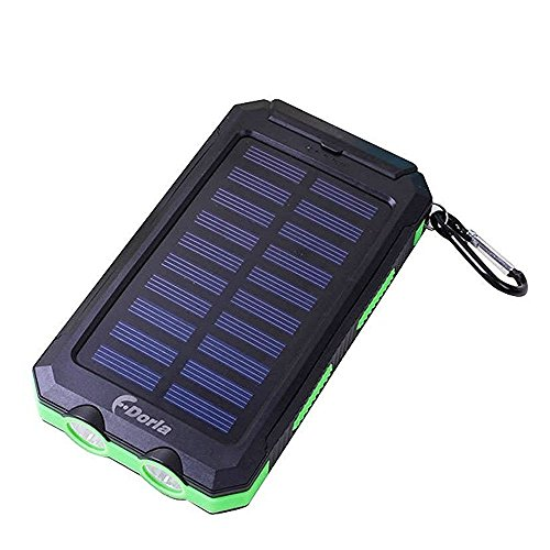 F.Dorla 20000mAh Power Bank Solar Charger Waterproof Portable External Battery USB Charger Built in LED light with Compass for iPad iPhone Android cellphones, 9 Colors Avaliable (Black+Green)