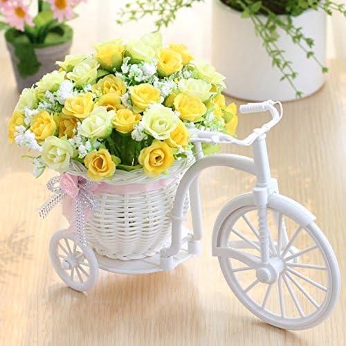 SANGDA - Cesta de flores para bicicleta, diseño de rosas artificiales, triciclo de ratán, triciclo de mesa, plástico, color blanco