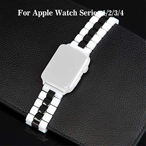 - Closure Stainless Steel Buckle Clasp Replacement Top Grain for Apple Watch Series 1/2/3/4 Strap Ceramic Strap 38MM