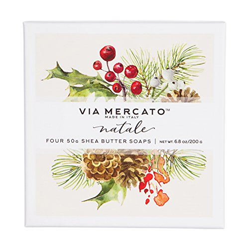 (Via Mercato Natale Shea Butter Soap Boutique Luxury Gift Box (Set of 4, 50g Each) - Natale)