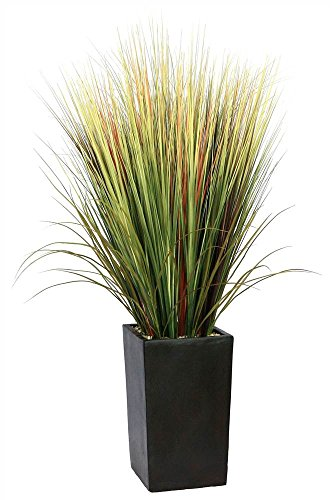 Laura Ashley 60 Inch Tall High End Realistic Silk Grass Floor Plant with Contemporary Planter