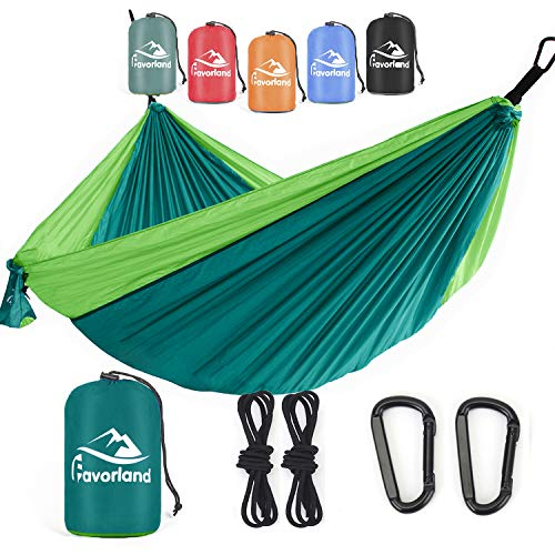 Favorland Camping Hammock Double & Single with Tree Straps for Hiking, Backpacking, Travel, Beach, Yard – 2 Persons…
