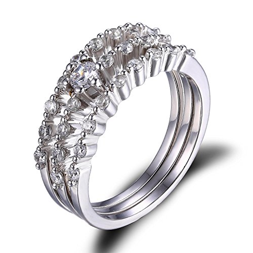 Jewelrypalace Womens Cubic Zirconia Wedding Anniversary Engagement Bridal Set Ring 925 Sterling Silver Size 7