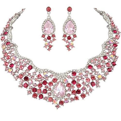 (EVER FAITH Women's Austrian Crystal Flower Cluster Teardrop Necklace Earrings Set Pink Silver-Tone)