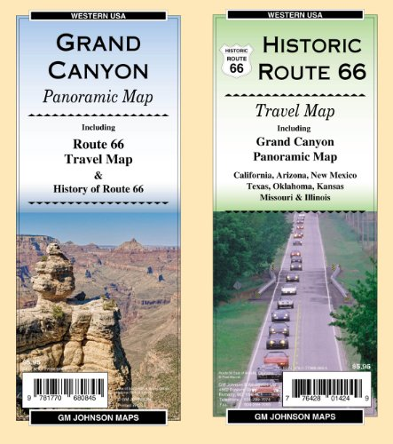 California Ca Panoramic Map - Route 66/Grand Canyon