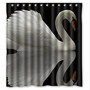Best Seller The Reflection In The Water Pattern Design,Swan Custom 100% Polyester Waterproof Shower Curtain 66 x 72