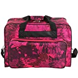 Kemanner Universal Sewing Machine Carrying Case Padded Sew Machine Tote Bag with Pockets and Handles (Floral-Red)